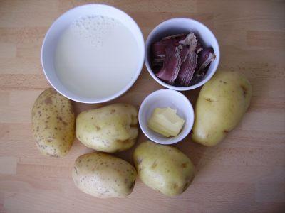 Gratin de pommes de terre au magret de canard fumé